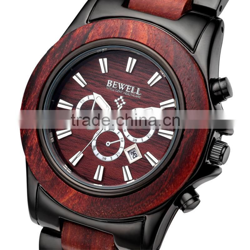 Orginal Woooden and Steel Watch Day Date Water Resistant,Sport,fashionable Type and Men's Gender chronograph watch