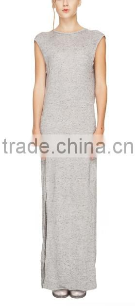 2015 China manufacturer ladies Casual Cut Out Back Long Jersey Dress