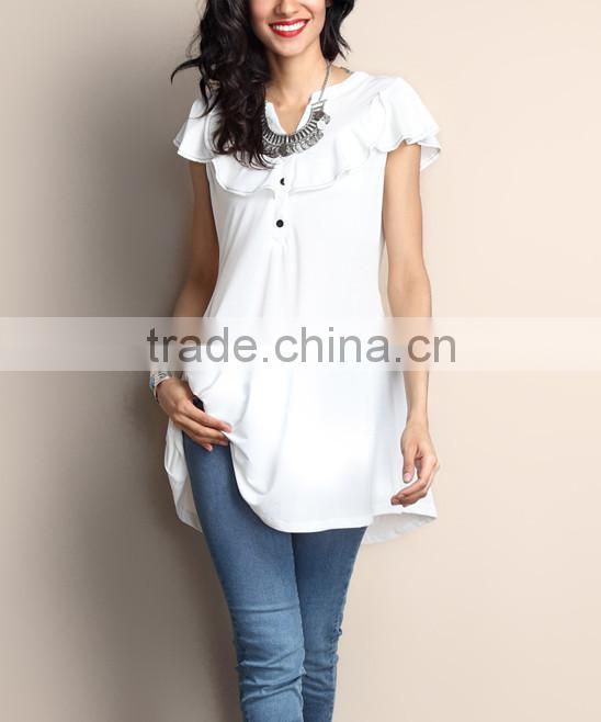 Hot Selling Women Blouse With White Ruffle Notch Neck Cap-Sleeve Tunic Women Tops Women Wear GD90426-8