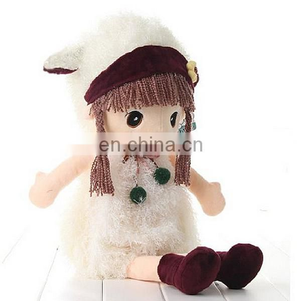 wholesales wearing dress girl soft doll plush toy stuffed toy girl gifts