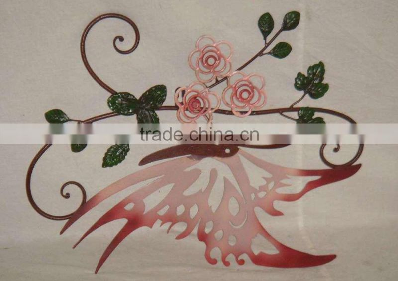 2015 New Arrival Metal Crafts Wall Art Light Pink Butterfly