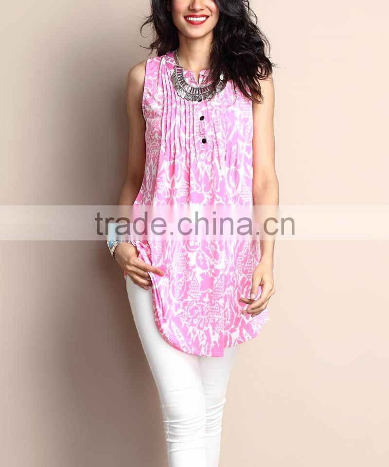 New Summer Women Tops With Pink Floral Notch Neck Pin Tuck Sleeveless Tunic Women Blouse Women Clothing GD90426-23