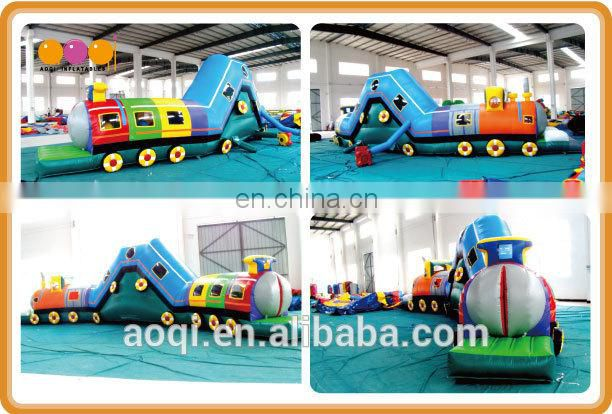 AOQI new designed inflatable toys train tunnel colourful inflatable tunnel obstacle for sale