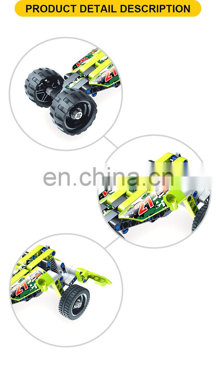 Green color racing model bricks construct toy Building bricks