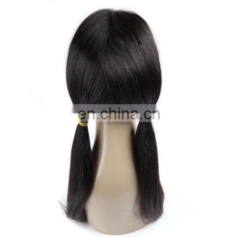 Brazilian human hair lace frontal wig with natural black color