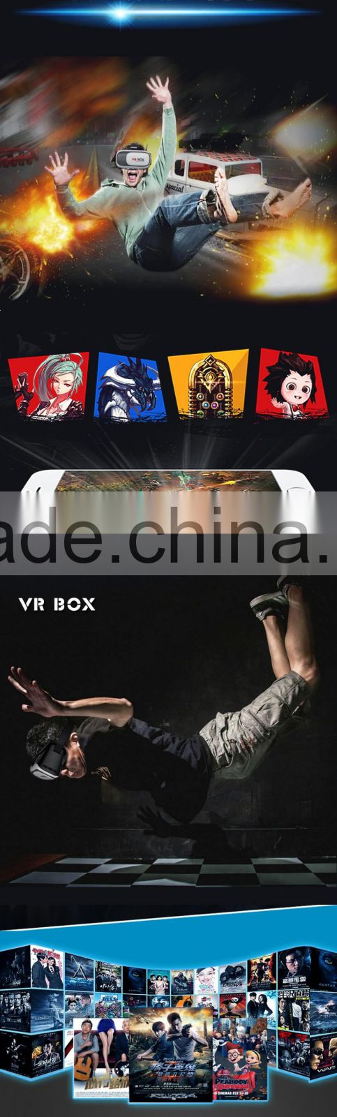 "Head Mount Plastic VR BOX Version 3d Glasses 3D Movie for 3.5"" - 6.0"" Smart Phone Good For Japan Sex Girl offering dropshipping"