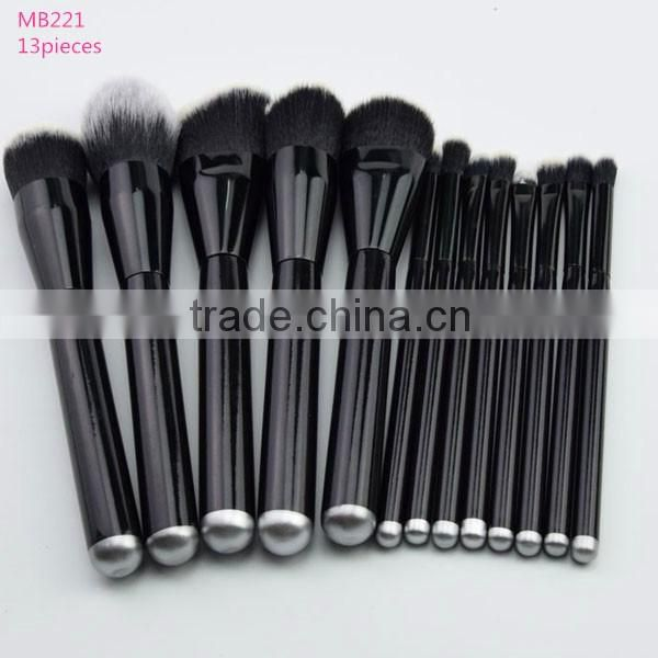 Big promotion! Wholesale good quality 10pcs Bamboo handle cosmetics kabuki makeup brush set with make up brushes cloth bag !