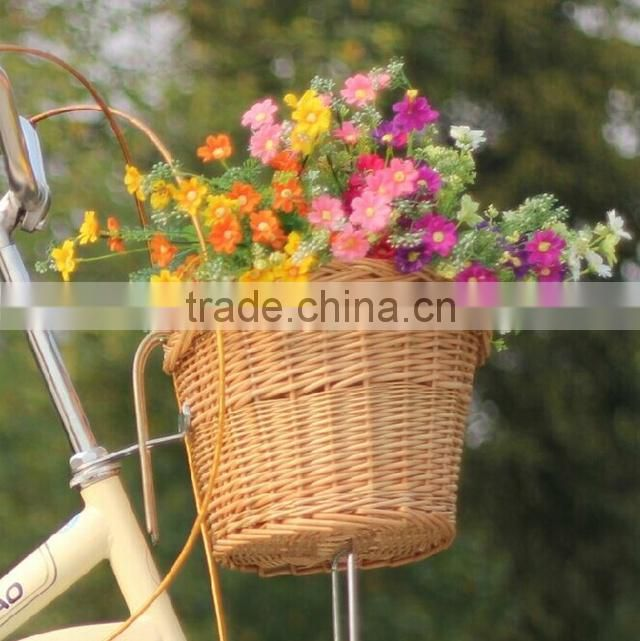 Wholesale cheap grey disposable willow bicycle basket wicker