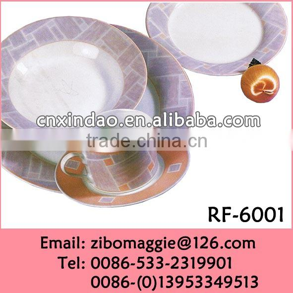 Professional Zibo Made Promotional Round Germany Dinner Set Porcelain Tableware