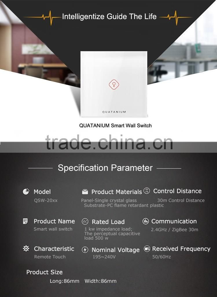 Quatanium tempered glass 1 gang 1way White Wall Electric zigbee Smart Home automation wifi Touch Switch remote control