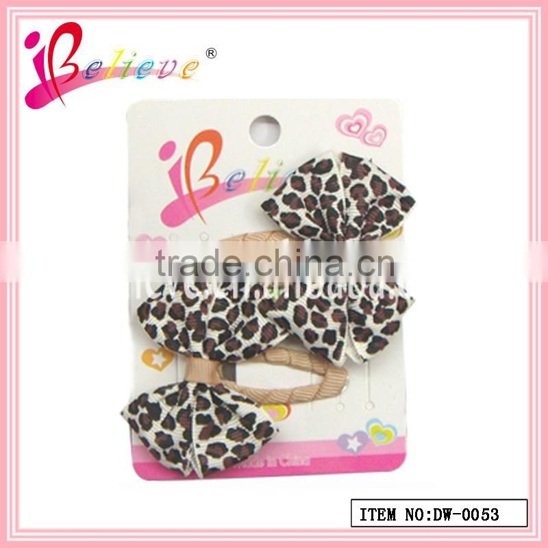 Elegent leopard hair ornaments fashion headwear accessories ribbon bow boby hairpins for kids(DW--0053)