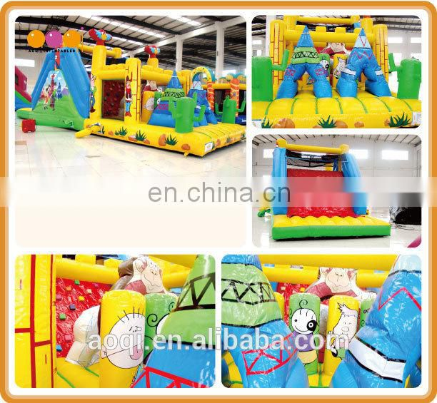 Children amusement park equipment pvc tarpaulin inflatable mini obstacle for sale