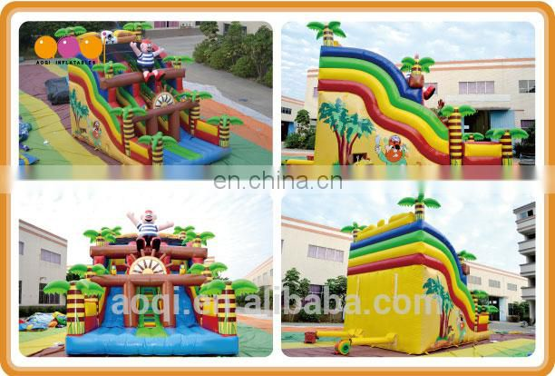 AOQI newest style palm tree slide commercial outdoor inflatable slide double lane slide for children
