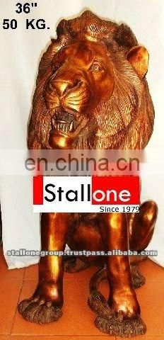 BRONZE LION SEATED STATUE