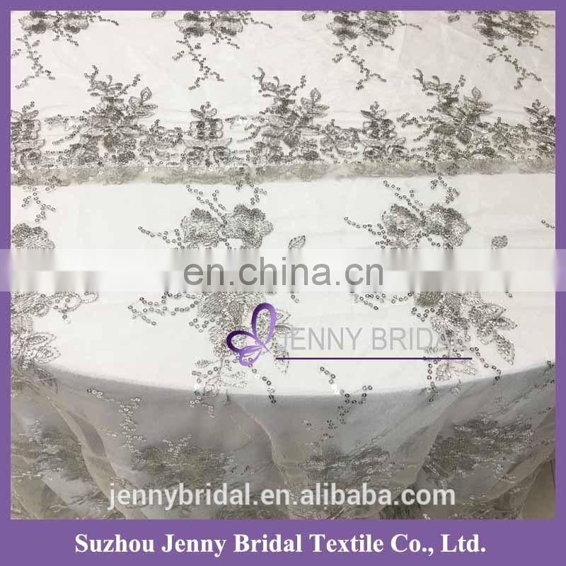 TL002S1 silver sequin lace fabric hotel table cloth