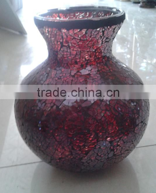 Table Decorations Teal Hand Crafted Mosaic Red Vase Wholesale Wedding Centerpiece