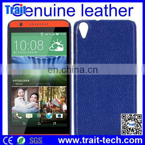 New Arrived Genuine Leather Coated PC Hard Cover Case for HTC Desire 820