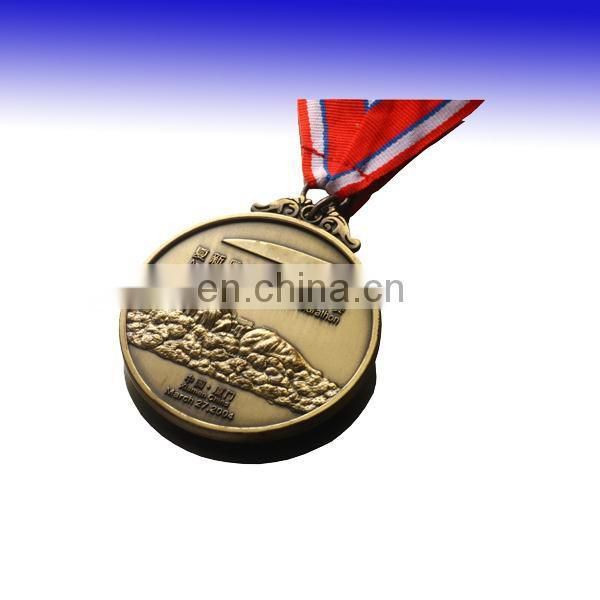 Running sports medal with ribbon