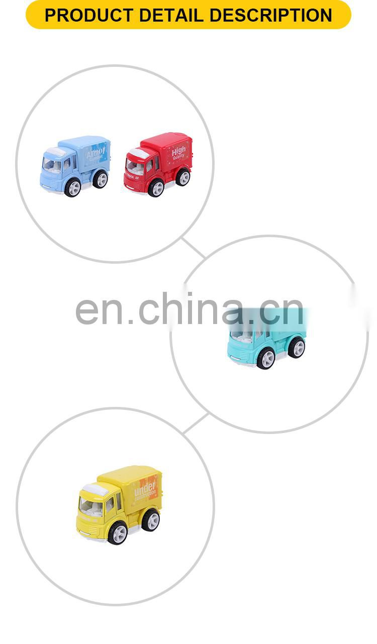 9 cm mini pull back mental container truck toys car