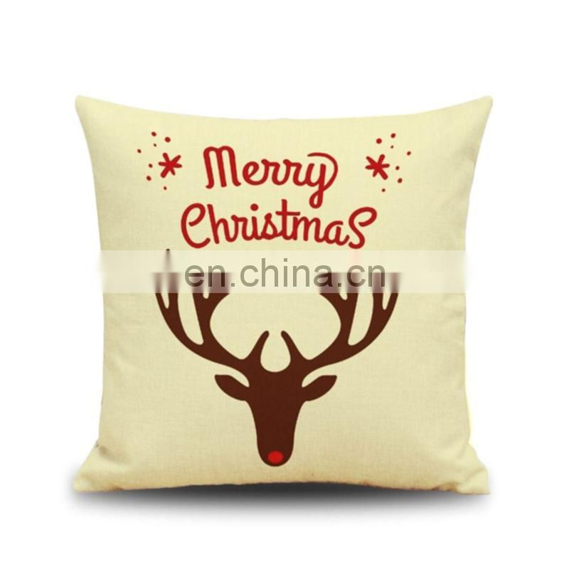 Wholesale Cotton Linen Throw Pillow Cover Christmas Home Decoration Pillowcase Soft 45x45 Square Cushion Covers