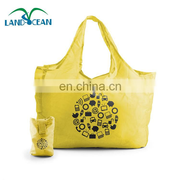 Custom logo yellow foldable nylon grocery shop bag with pouch