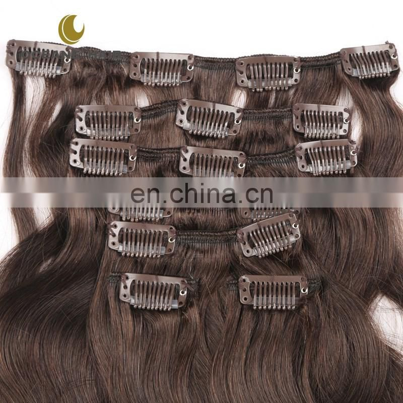 Double drawn 220g 10sets clip hair extensions kinky curly clip in hair