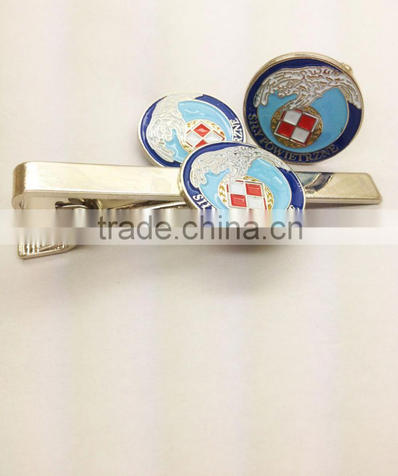 custom tie clips mape sea red and white badge soft enamel lapel pin tie clip