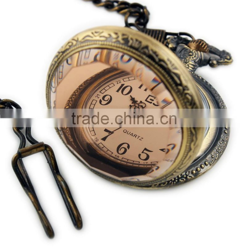 WP013-ESS New Mens White Dial Antique Pocket Watch with Chain Wholesale Pocket Watch
