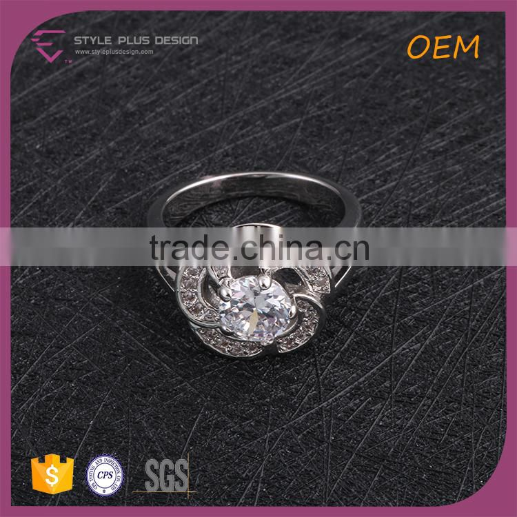 R63474K01 China wholesale jewelry silver plated flower rings flower shape silver ring design
