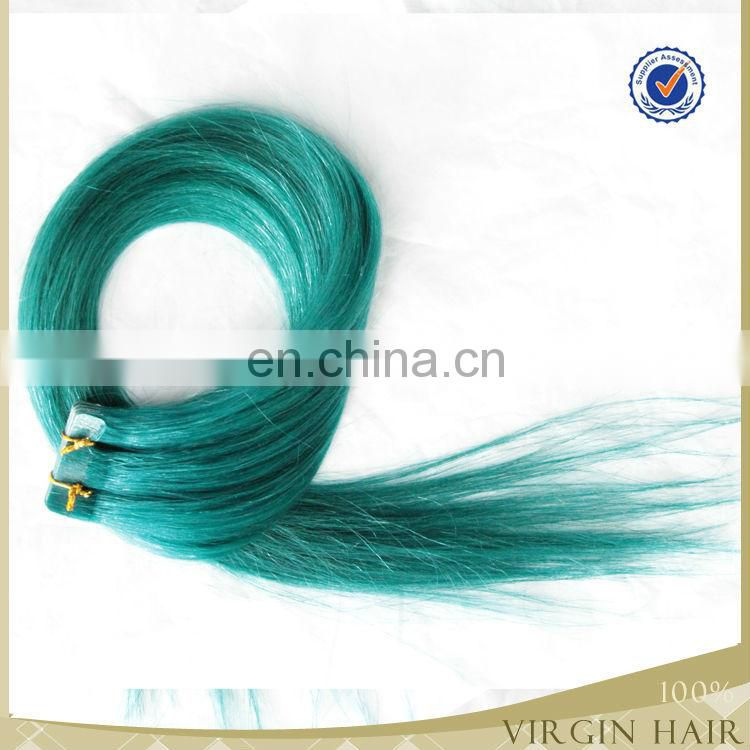 Indian remy hair Fancy Color Tape hair extensions blue tape hair extension 2.5g/picece 40pcs/pack for full head