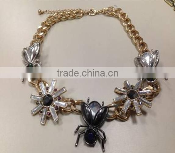 2014Hot saling Short coarse chain necklace with AB acrylic flower