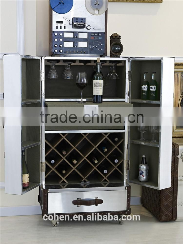 Foshan factory direct sale high quality American antique design classic wine cabinet covered by aluminium for livingroom