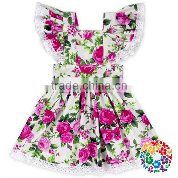 Wholesale Girls Boutique Flower Ruffle Summer Dresses Organic Cotton Lace 2016 Dress Fashion Design