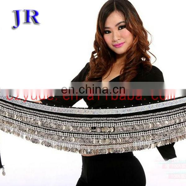 Wholesale 248 and 338 coins high velvet silver coin Belly dance hip belt Y-2007#