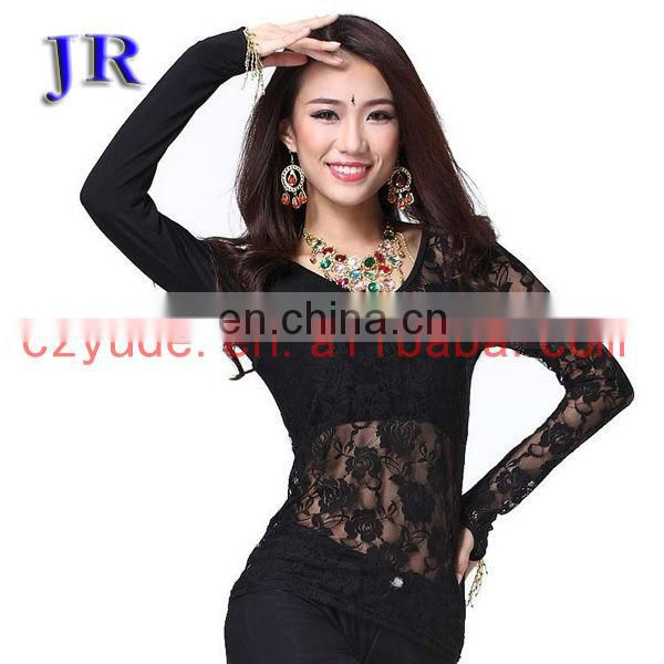 S-3028 High lace two-piece long sleeve women belly dance top blouse