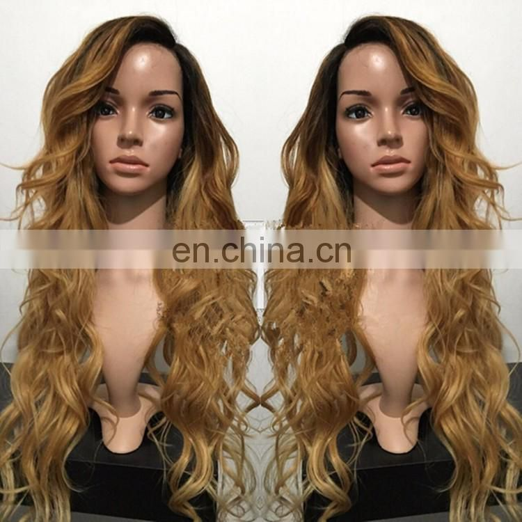 Ombre Honey Blonde Hair Body Wave Glueless Silk Base Lace Front Wig Virgin Mongolian Human Hair Wig With Bangs