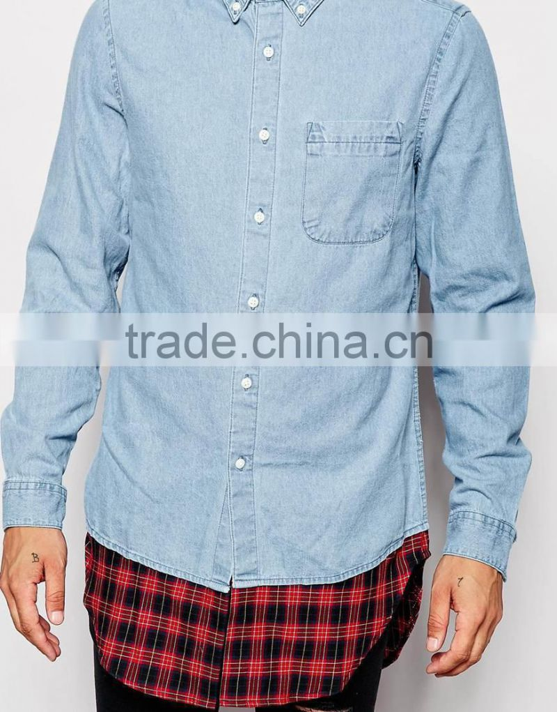 4d94e6fd ... 2015 Super Longline Denim Shirt With Check Hem designer latest design  denim shirts men italian style