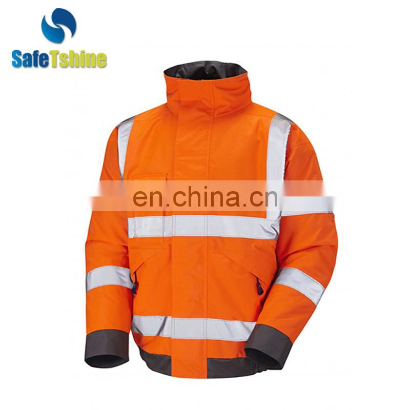 High visibility reflective fluorescent polyester used winter jacket