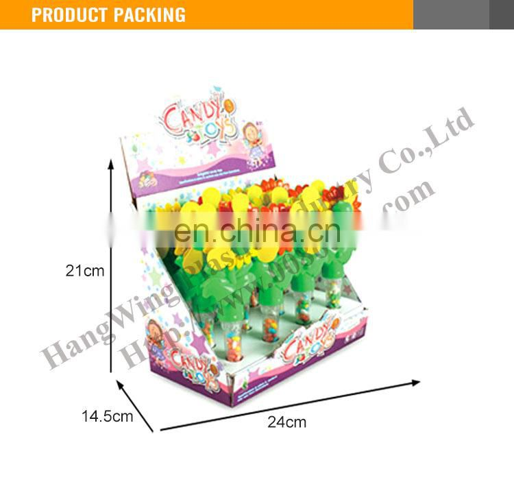 Cheap Kids Plastic Sun Flower Toys With Soft Candy Toys (12pcs /Display box)