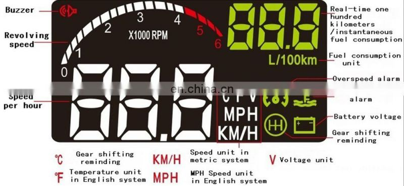 multi function F02 car LED head up display water temperature overspeed reminder fuel consumption
