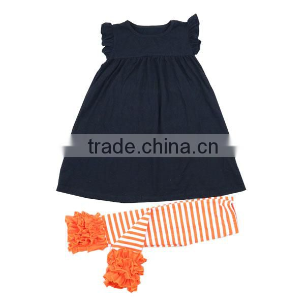 Halloween costumes china wholesale purple blanks boutique dress black orange striped icing legging kids boutique girl clothing