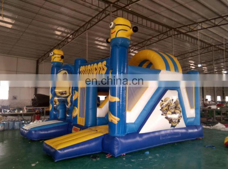 Wholesale vinyl inflatable castle / inflatable bouncer with slide / minions kids castle beds