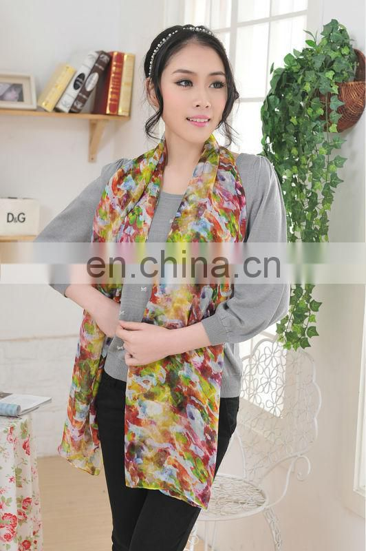 Fashion Silk Chiffon Scarf With Digital Printed