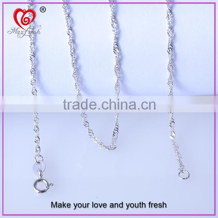 2015 Fashion Jewelry Custom Silver Chain Necklace Hot 925 Sterling Silver Box Chain 18 inch, Spring Ring Clasp Findings
