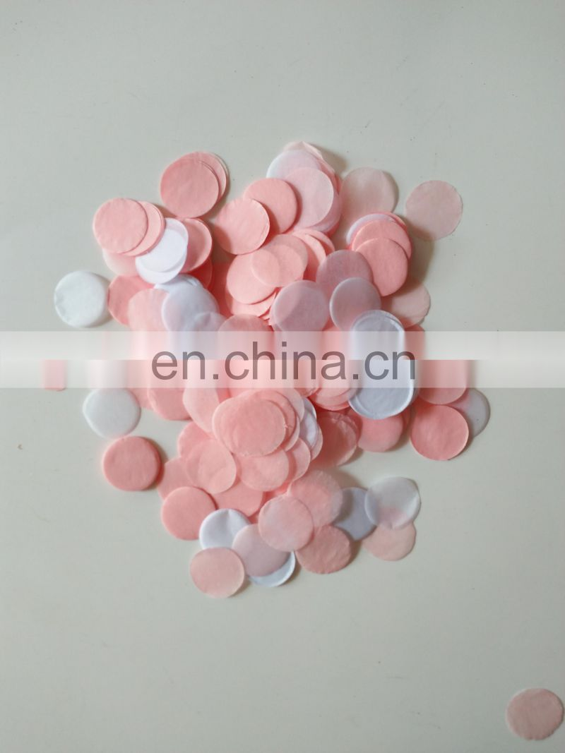 Pink and White Round Paper Wedding paper confetti
