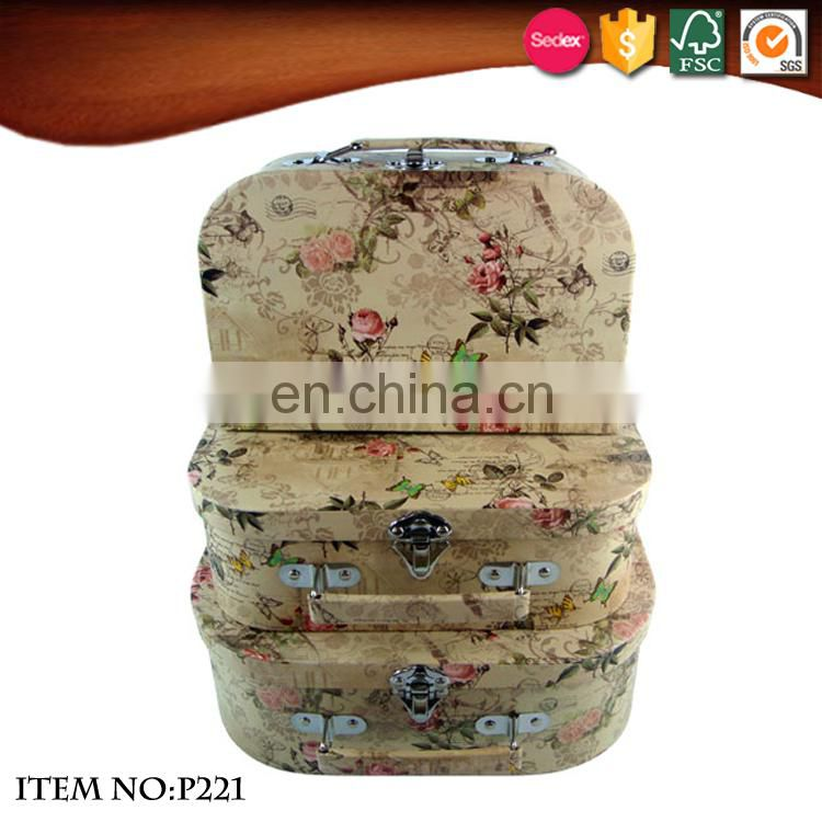 Best selling cardboard vintage suitcase box with metal lock