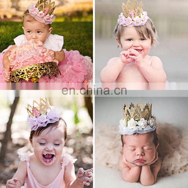 Kids Girl Baby Toddler Lace Flower Crown Headband