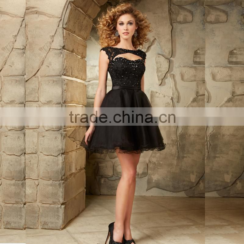 Beaded appliqued lace layered cap sleeve short puffy cheap 2015 black party dress CWFp1988