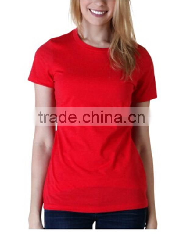 Red Ladies T-shirt With 100%Cotton Short Sleeve T-shirt