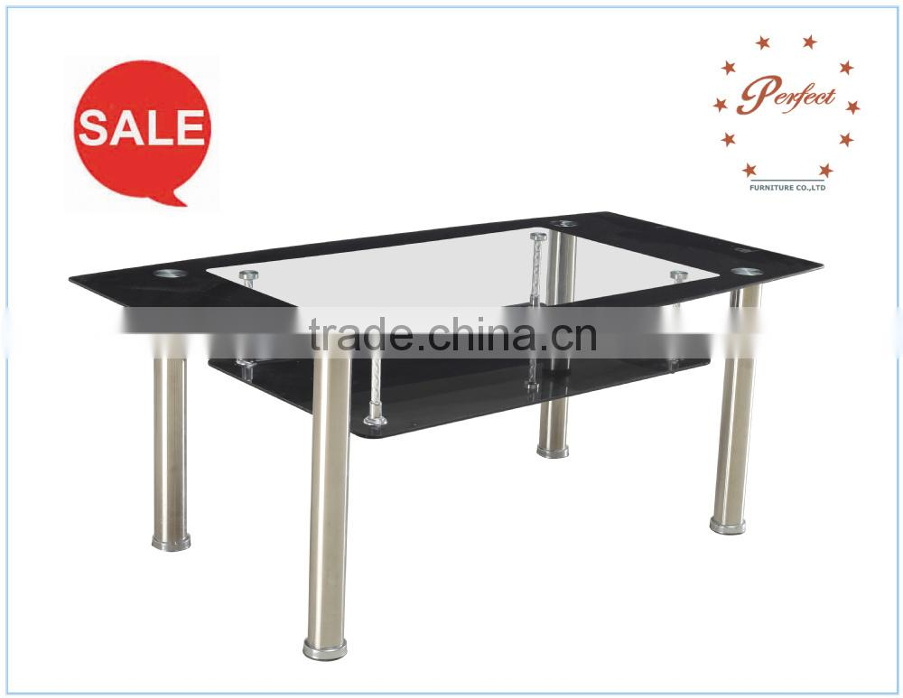 black glass double table for living room PCT14126